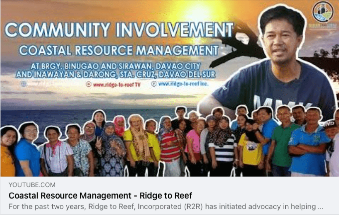 """This CRM initiative video of some Barangays in Davao Gulf is now available on our """"Ridge to Reef TV"""