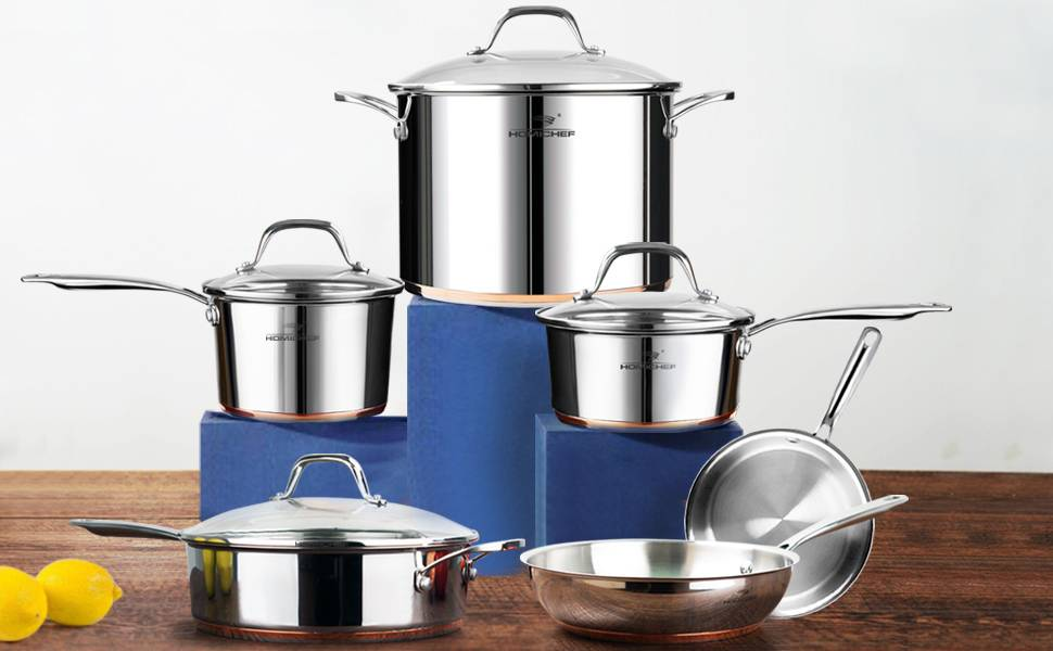 HOMICHEF 10-Piece Nickel Free Stainless Steel Cookware Set