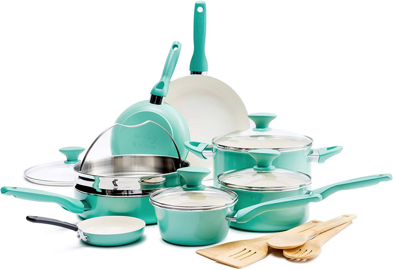 GreenPan Rio Healthy Ceramic Nonstick, Cookware Pots and Pans Set.